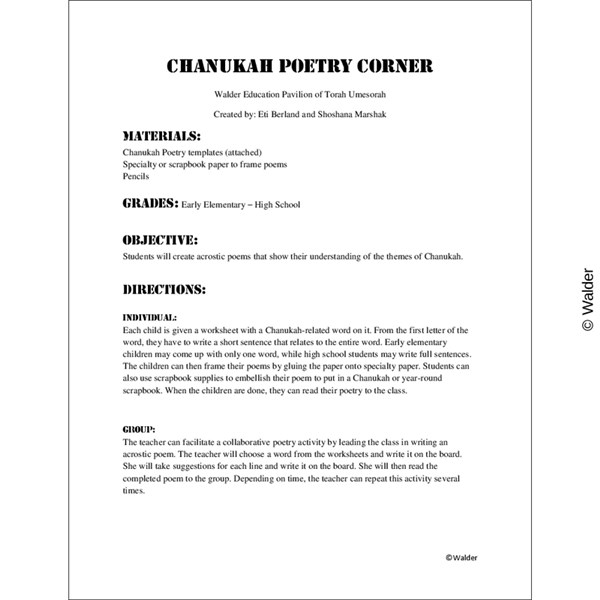 Chanukah Poetry Corner