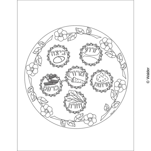 Illustrated seder plate walder education for Seder coloring pages