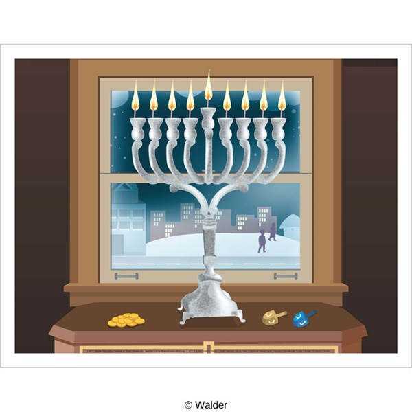 Chanukah poster window scene with dreidel and gelt