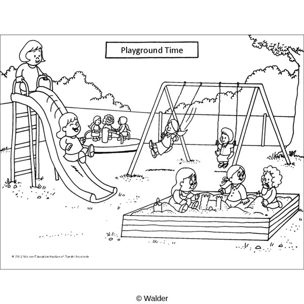 Playground Outline Coloring Sketch Templates on playground equipment