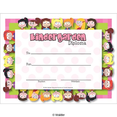 kindergarten certificate of award walder education