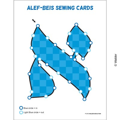 Alef Beis Sewing Cards - Blue