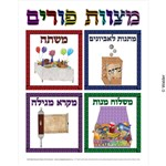 Mitzvos of Purim labeled in frames