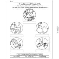 Fill In The Blanks Illustrated Prohibitions of Tisha B'Av Coloring Sheet