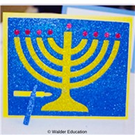 Interactive Glittery Menorah Card