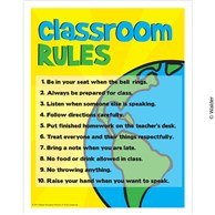 Classroom rules with Earth in the background.